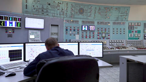 Power Station employee. Engineer and Control Panel Power Station Footage