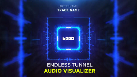 Audio React - Endless Square Tunnel After Effects Template