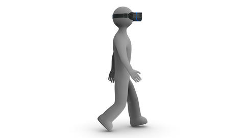 3d man walking in a virtual reality headset on white and transparent background. Animation