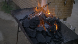 Charcoal Grill with Burning Fire in Slow Motion Live Action