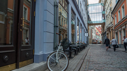 Timelapse dolly of a cobbled street in Old Town of Riga Footage