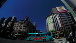 Ginza intersection in Japan. Time-lapse.日本にある銀座の交差点。タ Footage