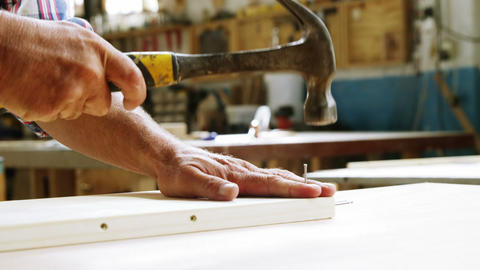 Focus on carpenter hammering in wood plank Live Action