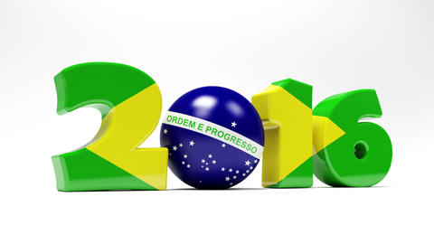 Cartoon Digits And Blue Ball Assemble In Flag Of Brazil Animation