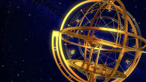 Armillary Sphere And Zodiac Signs. Blue Background Animation