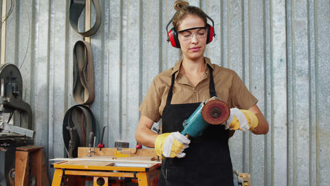 Facing view of carpenter preparing to work Live Action