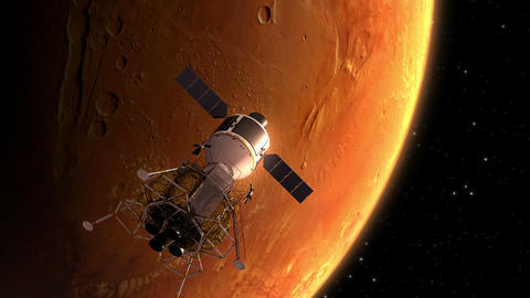Interplanetary Space Station Orbiting Mars Animation