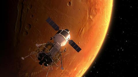 Interplanetary Space Station Orbiting Mars Animation