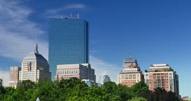 Summer Boston Skyline Establishing Shot with Gay Pride Flag on John Hancock Buil Footage