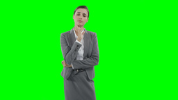 Businesswoman using a virtual touchscreen Live Action
