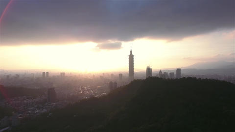 Taipei city Skyline moving Aerial Shot in Taiwan inspiring sunset shot Footage