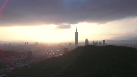 Taipei city Skyline moving Aerial Shot in Taiwan inspiring sunset shot Live Action