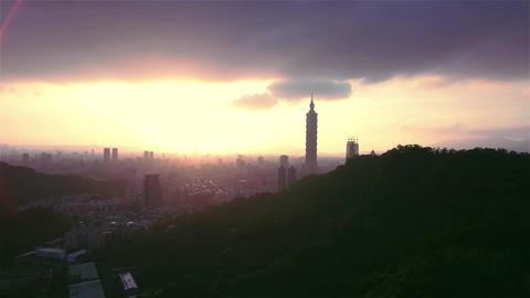 Taipei city 101 Aerial moving Shot Footage