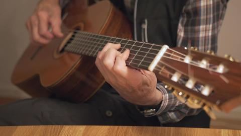 Old Retired Senior Man Playing Guitar Footage