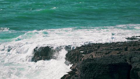 Ocean Waves Breaking on Rock Live Action