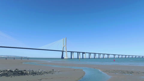 Panoramic View Vasco da Gama Bridge Footage