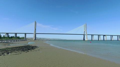 Panoramic View Vasco da Gama Bridge Footage