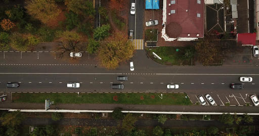 Top Down Drone Point of View - steet city road intersection in autumn time Archivo
