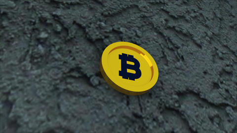 Bit coin is on concrete surface, it is symbol of electronic virtual money and Live Action
