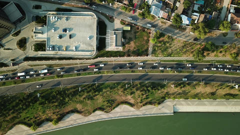 Aerial view of road traffic with cars on the city road Footage
