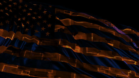American flag made in cyber style in slow motion CG動画素材