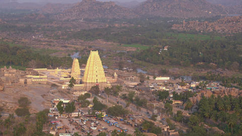 View of the gopuram with a bird's eye view Footage