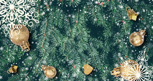 Christmas background with fir branches, snowflakes and... Stock Video Footage