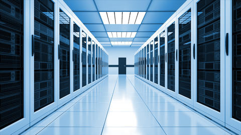 Modern server room interior in datacenter, web network and internet Footage