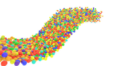 Multi-colored plastic balls flying in perspective in slow motion GIF