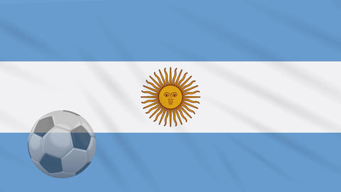 1d6483b36 Flag of Argentina and soccer ball rotates against backdrop of waving cloth  Animation