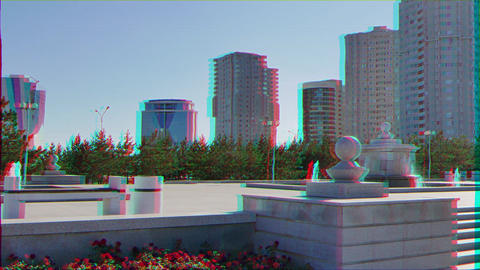 Glitch effect. Fountain on the Independence Square. Astana, Kazakhstan, Nur-Sultan Footage