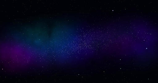 Space background. Camera is flying through the blue and magenta coloured nebula Animation