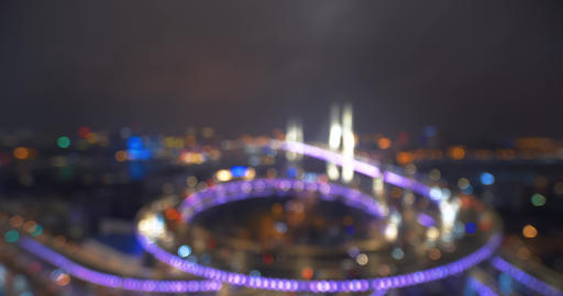 Abstract of car lights moving on multi row Spiral Nanpu bridge in the evening, Shanghai Footage