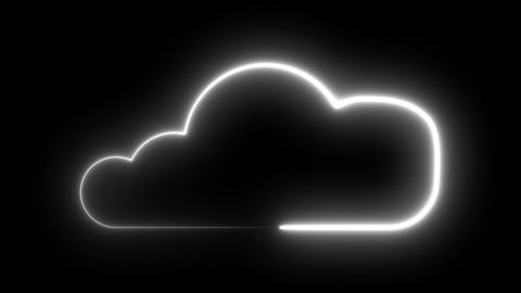 Cloud symbol with neon illumination, lowing neon light tube art design for cloud Footage