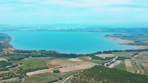 Flying drone over the salt lake near the town of Torrevieja in Spain Footage