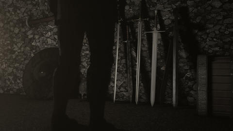 Knight Standing in Front of Swords to Choose Footage