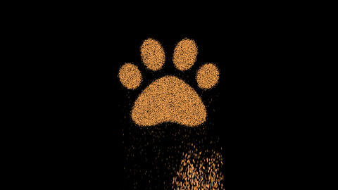 Symbol paw appears from crumbling sand. Then crumbles down. Alpha channel Premultiplied - Matted Animation