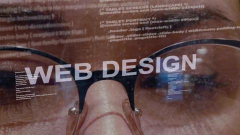 Web Design text on female software developer Footage