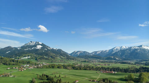 Panoramic view of Bavarian landscape with alps Fotografía