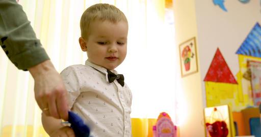 Cute little kid boy indoor Footage