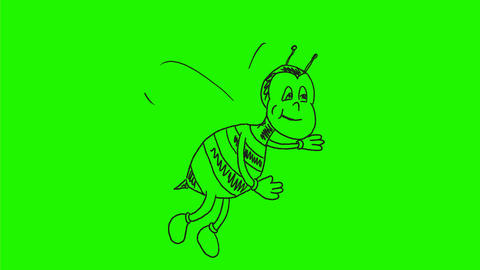 Busy Bee Waving Flying Drawing 2D Animation Animation