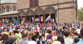 The Gay Pride Parade in Boston Near Copley Square Footage