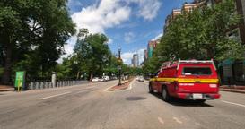 Traffic on Boylston Street in Downtown Boston Footage