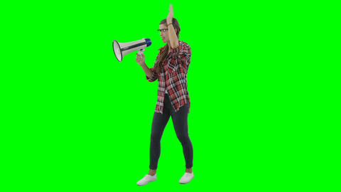 Woman shouting on horn loudspeaker Live Action