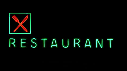 Advertise bright green and red LED at a restaurant 01 Footage