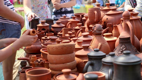 Selling of pottery in the retail store outdoors Footage