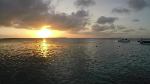 Timelapse Of A Sunset Over An Ocean Seaport stock footage