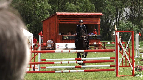 Riding competition attended by many competitors who have to jump over obstacles Footage