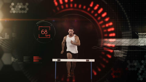 Athlete jumping over hurdle against the animated background Animation