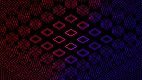Abstract line 3D virtual isometric square lighting moving, Blockchain technology network digital Videos animados